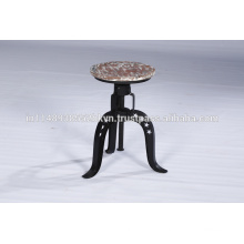 Industrial Distressed Adjustable Wood and Metal Bar Stool