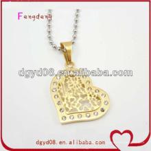 Joli collier en or avec pendentif coeur en cristal pour femme