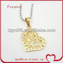 Nice gold heart necklace pendant with crystal for women