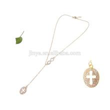 длинные bling bling золотой изукрашенный горный хрусталь бесконечность крест ожерелье