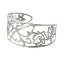 Forme en acier inoxydable creuse des bracelets avec des fleurs pour femmes, du bai bangles bijoux