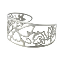 fashion stainless steel hollow out bangles with flower for women, du bai bangles jewelry