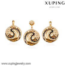 64014 design saudi gold jewelry cheap fashion unique copper alloy earring and pendant women jewelry sets