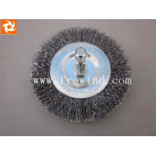 crimped wire wheel cleaning brush with shank