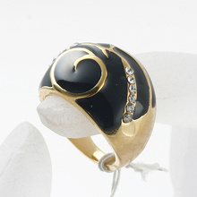 new arrival black enamel vintage rhinestone ring, fashion crystal metal alloy rings