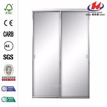 60 дюймов x 80 дюймов. Аврора Алюминиевая матовая зеркальная раздвижная дверь с никелевым покрытием