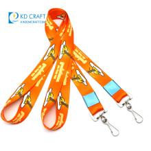 High quality custom logo promotion detachable neck strap polyester breakaway dual layer 1 inch full dye sublimation lanyard