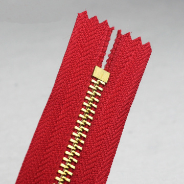 Brass No. 3 Red Zipper for Bag