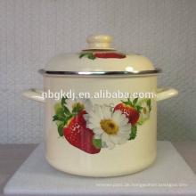 Emaille-Vorratskochtopf des neuen Produktes mit Frucht und Blume