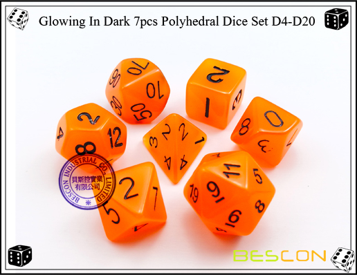Glowing In Dark 7pcs Polyhedral Dice Set D4-D20-6