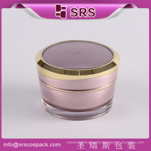 SRS cosmetics wholesale alibaba eco-friendly empty jars plastic 50g face cream container with golden screw cap