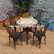 Promotional  outdoor cast  aluminum furniture 5 Pcs backyard furniture garden set coffee table with chairs