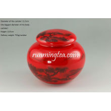 Китайская Пейзажная живопись красный застекленный чай / кофе канистра