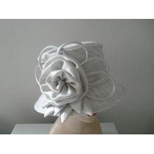 Handmade White Pretty Fabric Ladies' Church Hats With Sweatband For Wedding