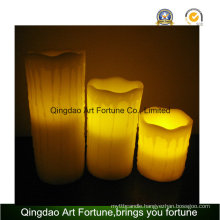Flameless LED Candle-White Color and Dripping Finish Set of 3