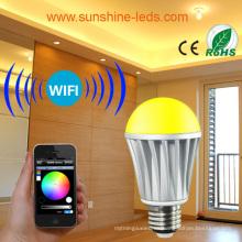 7W inalámbrico RGB / RGBW LED WiFi / dientes azules bombilla con controlador