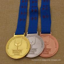 Médaille de sports en métal faite sur commande de vente supérieure de 2016, médaille courante, médaille de marathon en métal