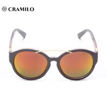 Fábrica de China de las gafas de sol de la lente del espejo del puente del metal del último diseño redondo