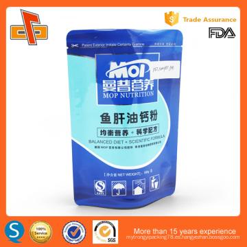 Estante laminado de plástico bolsa de plástico sellable para embalaje de polvo de nutrición