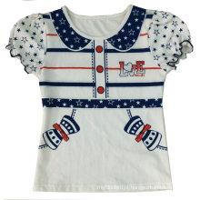 Moda infantil menina falso boneca-colarinho t-shirt com impressão em roupas de crianças (SGT-042)