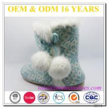 Tricotado superior com camurça suede outsole floco de neve barato morno indoor botas chinelo senhoras
