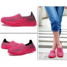 Rose Red Woman Outdoor Woven Shoes