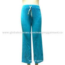 Women's jogger pants, T/C velour, applique w/ lurex embroidery, color hotfix, OEM services provided
