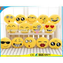Hot Selling High quality Novelty Design Emoji Expressão Facial Plush Almofada Redonda Amarela