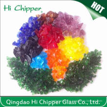 Lanscaping vidro areia esmagado coloridas vidro chips vidro decorativo