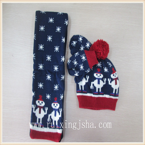 kids Acrylic knit gloves hat and scarf set