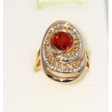 Gold Color Fashion Rhing with Garnet and Crystal Stones
