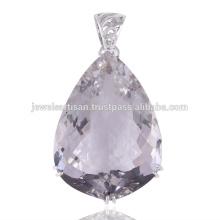 Crystal Quartz 925 Pendentif en argent sterling