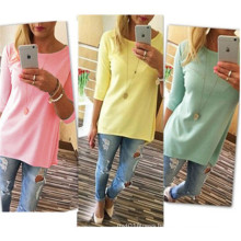 High Quality Modern Sexy New Fashion Pure Color 3/4 Sleeves Girls Tops