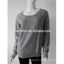 Fabricante profesional 12gg coderas para el cuello redondo 100% jersey de cachemira puro para mujeres