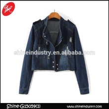 Cheap long sleeve blouse denim jacket with women