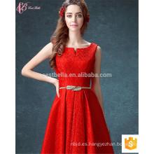 Guangzhou largo elegante rojo mejor calidad de una línea sin mangas de gasa servicios OEM vestido de dama de honor