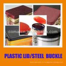 Tapón hermético y tapa de plástico con hebilla de acero para cooky jar producción