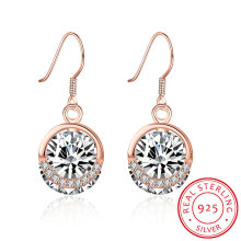 925 Sterling Silver Casual Estilo Zircon Rose Gold Plated Earring