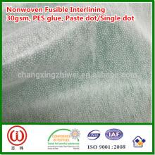 Punto de la pasta de 30gsm solo punto del punto pes pegamento no tejido fusible interlínea
