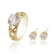 63677 xuping 14k gold color crystal jewelry set,earring and ring set