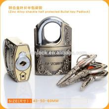 Цепь цинкового сплава с полузащитой Пуля ключ Padlock