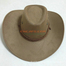 Outdoor Cow Leather Cowboy Hat with Logo Ribbon and Sweatband