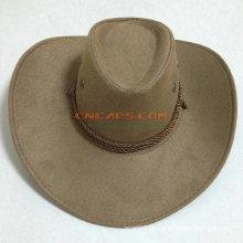 Sombrero de vaquero de cuero al aire libre de la vaca con la cinta de la insignia y la venda del sweatband