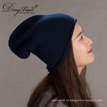 Sombreros de punto Knit Pom Beanie Winter Hat Cashmere para mujer con Snap-On Fur Pompom de conejo