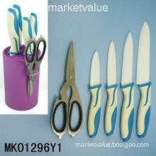 4PCS Rubber Handle Ceramic Knife Set With Kitchen scissors