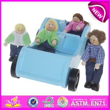 Nouveau et populaire jouet en bois voiture pour enfants, jeu de rôle voiture de jouet pour enfants, voiture et poupée jouet pour bébé W04A084
