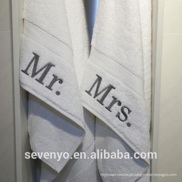Hotel autêntico personalizado senhor e senhora algodão mão toalhas BT-109