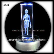 Colorido cristal grabado K9 con láser con base LED