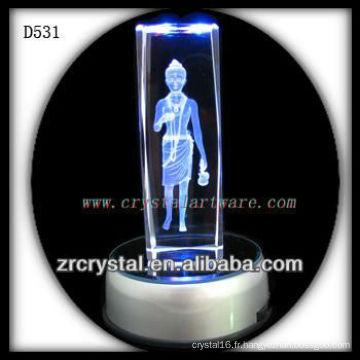 Cristal gravé par laser coloré de K9 avec la base de LED