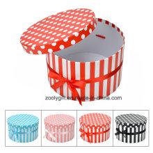 DOT / Stripe Impresión Caja de regalo de papel redondo con cinta